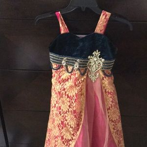 Girls Indian gown. Velvet and lace